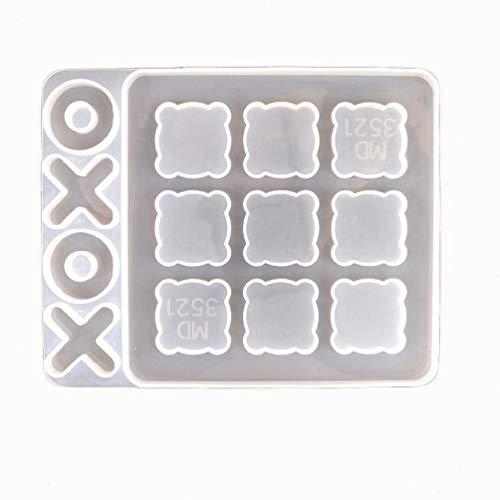 Sweo DIY 3D Tic Tac Toe Formen für Harz Gießen Kleine O X Brettspiel Silikonform Epoxidharz Form für schöne und kreative DIY Handwerk Silikonformen