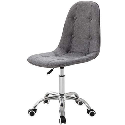 Charles Jacobs Quilted Office Swivel Chair with Castor Wheels and Adjustable Height - Choice of Colours (Fabric Grey)