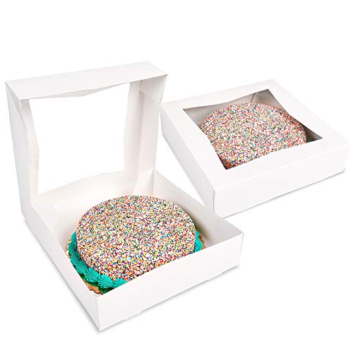 Surf City Supplies White Bakery Boxes with Window 10X10X2.5 |Pack of 25| Auto Pop-up | Easy to Assemble | Great for Pies, Cakes, Cupcakes, Donuts, Cookies, Pastries, Cheesecake, Candy, Brownies
