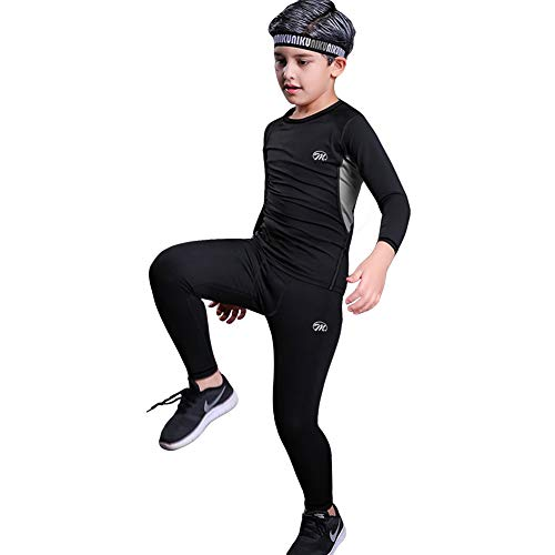 MeetHoo Conjunto Ropa Interior Termica para Niños Camisetas Termicas Deportivas Manga Larga Decathlon Pantalon Termico Futbol Niño de Esquí Forro de Lana para Correr