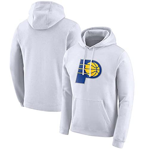 NBA Jersey Pacers Casual Capucha Imprimir Suéter con Capucha Uniforme De Baloncesto De Los Hombres,Blanco,S