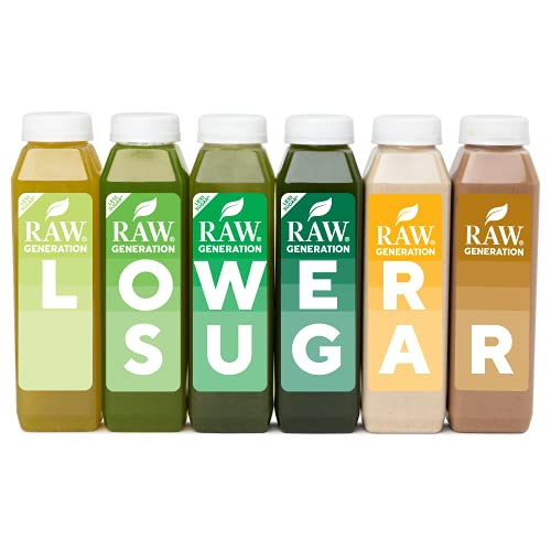 Raw Generation® 3-Day Lower Sugar Juice Cleanse - 65% Less Sugar Than Other Cleanses / Juices with Superfoods / 100% Plant-Based Smoothies / Reboot Your Body Deliciously (18 Count)