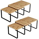 SONGMICS Cabinet Shelf Organizers, Set of 4 Kitchen Counter Shelves, Stackable, Expandable Spice Racks, Metal and Bamboo, Black and Natural UKCS10NB