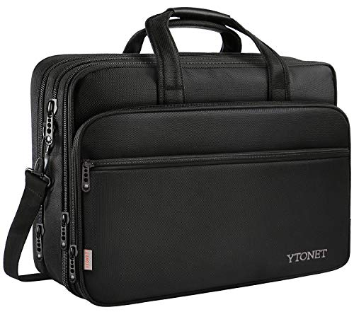 17 inch Laptop Bag, Travel Briefcase with Organizer, Expandable Large Hybrid Shoulder Bag, Water Resistant Business Messenger Briefcases for Men and Women Fits 17 15.6 Inch Laptop, Computer, Tablet
