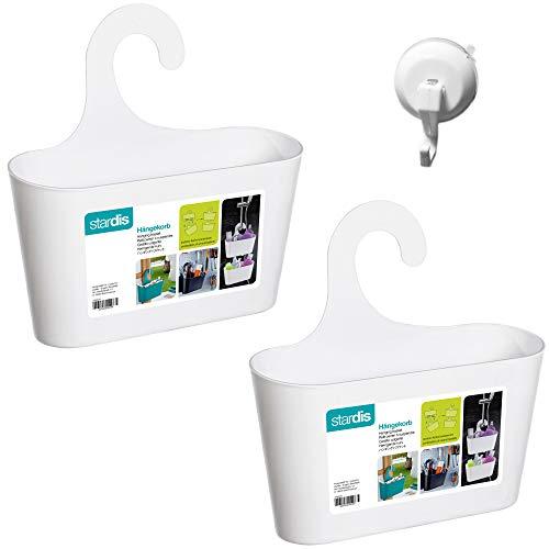 stardis 2er-Set Duschkorb zum Hängen inkl. Saugnapf-Haken - ohne Bohren - Duschablage aus Kunststoff Bad-Regal Duschregal Utensilo Aufbewahrungskorb, Farbe:Weiß mit Haken