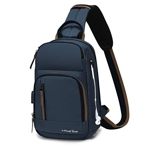 Wind Took Schultertasche Herren Taschen Brusttasche Sling Bag Crossbody Rucksack mit USB Ladeanschluss Kopfhörer Loch für Reise Arbeit Sport Daypack (Marineblau),21 x 12 x 32 cm