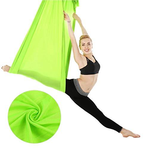 FEBT Columpio de Yoga aéreo de 2.8x1m / 9.2x3.3ft, Hamaca de Yoga, para Principiantes Profesionales Gimnasio en casa(Grass Green)