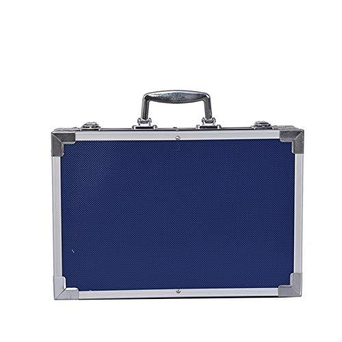 HUILE 145 Stück Kunststudio mit Aluminium-Fall-Geschenkbox-Aquarell-Bleistift-Kreisstift-Bürsten-Malerei-Briefpapier - Blau und Rosa (Color : Blue)