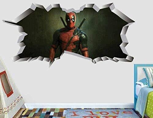 CSCH Wandtattoo Aufkleber Wandbild 3D Wandaufkleber Deadpool Comic Action Wandaufkleber Dekoration Kinder gebrochen Vinyl 3D Aufkleber