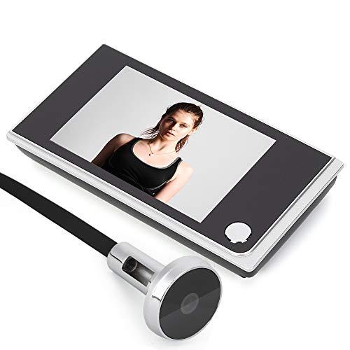 Timbre con video para el hogar, cámara de seguridad LCD digital de 3.5', mirilla para monitoreo visual de fotos, para oficina en casa