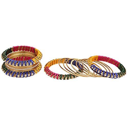 Efulgenz Mode Smycken Indisk Bollywood Guldpläterade Kristallpärlor Silke Tråd Armband Armring Set (18 St) E Basmetall, Colore: Flerfärgad, Cod. Bng268-2.4