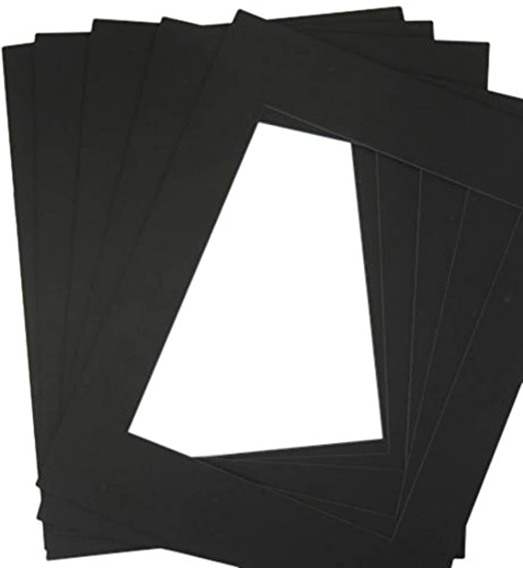 Golden State Art, Pack of 20 11x14 Black/Black Double Mats Mattes with White Core Bevel Cut for 8x10 Photo + Backing + Bags