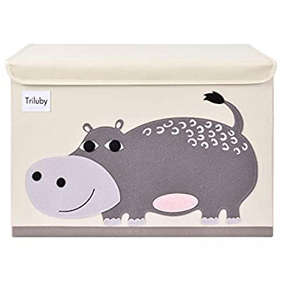 Triluby Foldable Animal Large Toy Chest with Flip-Top Lid, Collapsible Fabric Kids Toy Storage Organizer/Bin/Basket/Box/Trunk for Children, Toddler and Baby Nursery Room (Hippo)
