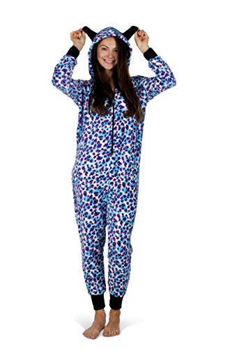 Totally Pink Women's Warm and Cozy Plush Adult Onesies for Women One-Piece Novelty Pajamas (Medium, Blue/Purple Leopard)