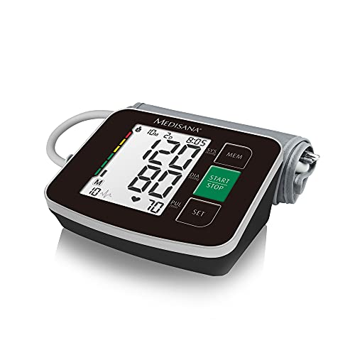 Medisana BU 516 Tensiómetro para el brazo, pantalla de arritmia, escala de colores de los semáforos de la OMS, para una medición precisa de la tensión arterial y del pulso con función de memoria