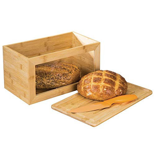 mDesign Panera de Madera con práctica Ventana – Caja de Pan con Tabla de Cortar como Tapa – Ideal para Guardar Pan de Forma ecológica y con Estilo – Color Natural