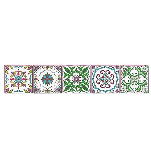 Pegatinas de azulejos de color vintage impermeables pegatinas de pared DIY autoadhesivas autoadhesivas retro cuadrados para decoración de muebles de cocina baño 15 cm x 75 cm x 1 unids