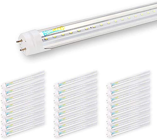 Brillihood T8 LED Shop Light Tube, 4FT, 18w (40W Equivalent), Dual-End Powered, 6000K Cool White, 2000 Lumens, Clear Cover Lens, T8 T10 T12 Fluorescent Bulbs Replacement, (Pack of 25)