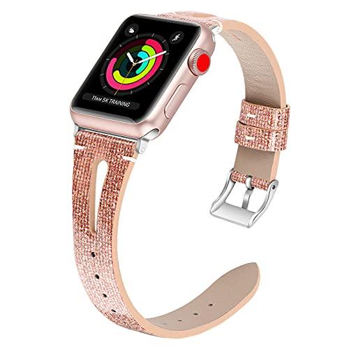 Correa De Reloj Compatible con Apple Watch Band 38 Mm 40 Mm 42 Mm 44 Mm para Hombres Y Mujeres, Correa De Repuesto De Cuero Genuino para Iwatch Series 5/4/3/2/1,42mm/44mm