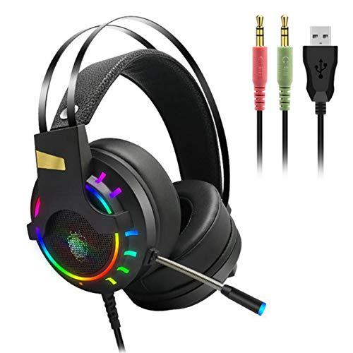 Mirabellinifred Auriculares para videojuegos profesionales cómodos con micrófono de cancelación de ruido,...