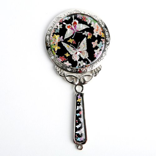 Mother of Pearl Princess Flower Butterfly Design Cosmetic Makeup Hand Mirror by Antique Alive