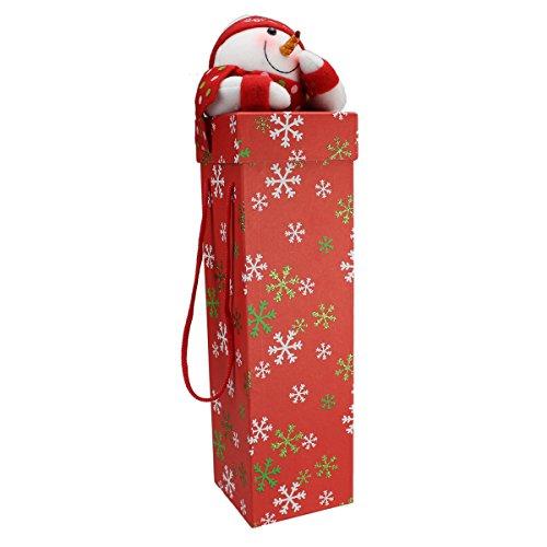Cadeauverpakking voor wijn pluche sneeuwman, Ø105x460 mm, stevig karton met stoffen figuur