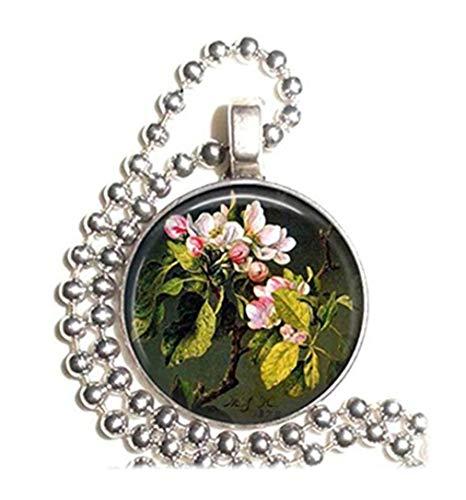 Leonid Meteor - Collar con Colgante con diseño de Ramas de Flores y brotes de Manzana, Hecho a Mano, Adornos de Cristal,