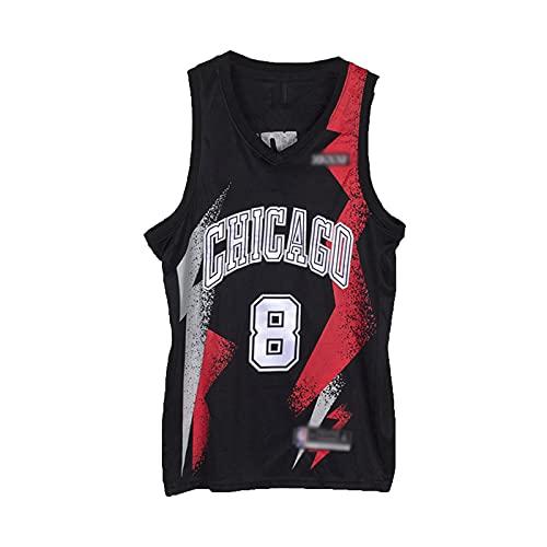HTTC Bülls # 8 Lävïnë # 23 Jördän Basketball Jersey Malla sin Mangas Camiseta, Unisex, Regalo de Ventilador, Letras presionadas en Caliente Negro S-XXL black8-L