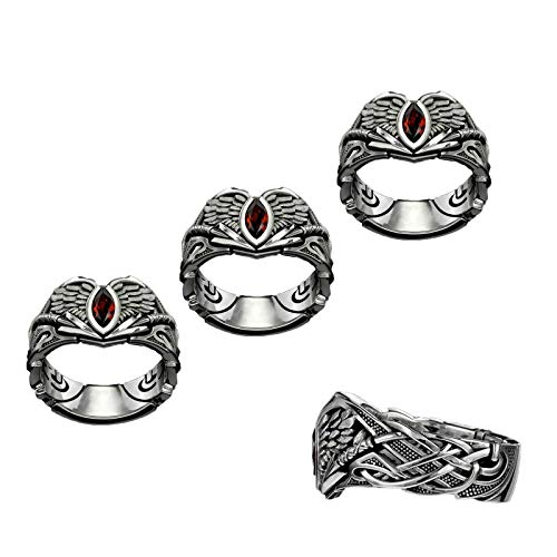 3PCS The Valkyrie Ring, Gothic Slavic Valkyrie Symbol Ring, The Valkyrie Fashion Creative Biker Style Anillo pulido retro para hombres y mujeres (7#)
