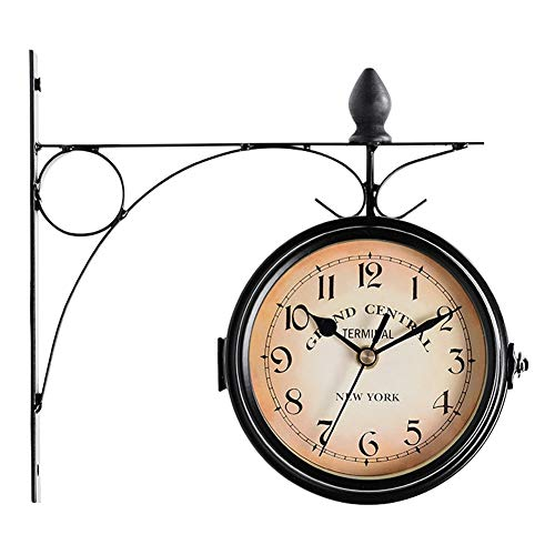 Home clock Station Mount European Style Hanging Metal Garden Retro Decoration Vintage Round Battery Powered Wall Clock Outdoor Double Sided (Color : Black)