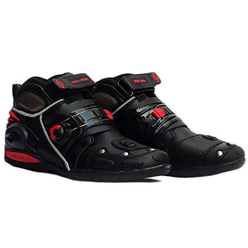 MERRYHE Bottes de Moto pour Hommes Bottes de Protection Courtes pour Chaussures de Cheville Antidérapantes Sports de Course Chaussures de Moto,Black-43