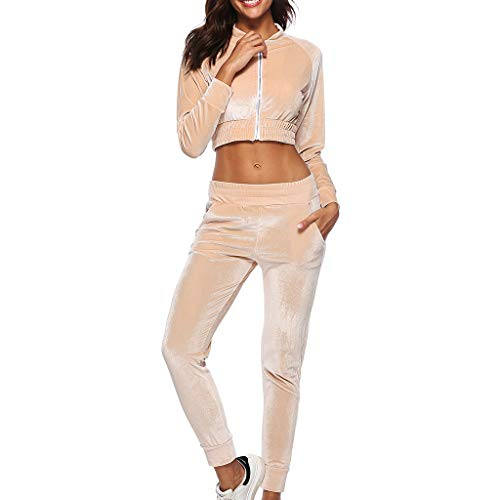 Great Price! Women's Sweatsuits 2 Pieces Short Sleeve Zip Hoodie Tops Sweatpants Jogging Suit (Khaki...
