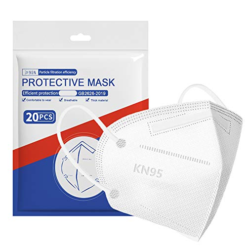 ApePal 5-Layer Disposable KN95 Face Masks Wide Elastic Ear Loops Safety Face Mask,White 20 PCS/pack