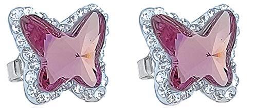 ENTREPLATA Pendientes Plata de Ley 925 Mujer Niña Mariposa Cristal Swarovski Color Rosa