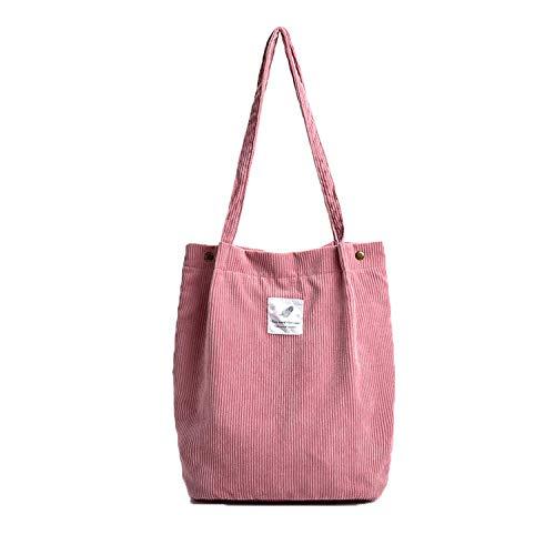 Etercycle Cord Umhängetasche Damen, Schultertasche Groß Cord Tasche Lässige Tote Handtasche Fashion Stofftasche für Alltag, Büro, Schulausflug und Einkauf - Rosa