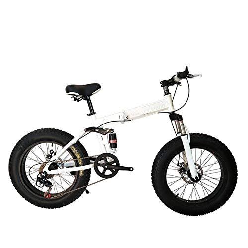 XUXUWA Bike Folding Bicycle Mountain Bike 26 Inch with Super Lightweight Steel Frame,Dual Suspension Folding Bike and 27 Speed Gear,White,27Speed