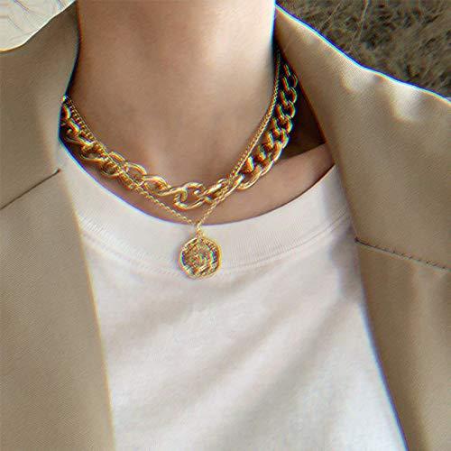 Kyushu 17KM Vintage Multi-Schicht Münze Kette Choker Halskette Für Frauen Gold Silber Farbe Mode Porträt Chunky Kette Halsketten schmuck