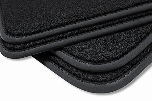 teileplus24 HQ-102 Tapis de Sol pour Seat Leon 2 1P Deluxe en Velours, Couture:Noir