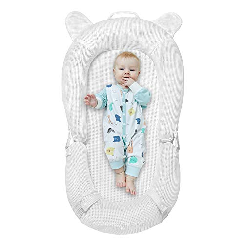 Baby Lounger, Newborn Lounger Portable Super Soft and Breathable Baby Nest Bassinet Machine Washable Co Sleeping for baby 0-2 Years