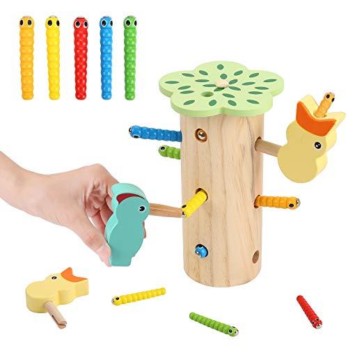 Herefun Montessori Spielzeug, Spechtspielzeug aus Holz Lernspielzeug Magnetisches, Specht Holzstumpf Magnetisches Kinderspiel, Fangen Spiel Jungen und Mädchen Lernspielzeug für Kinder