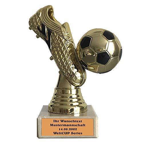 Larius Group Fußball Goldener Schuh Trophäe Fußballpokal Ehrenpreis mit Wunschtext