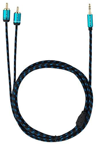 Cable Jack 3.5mm Macho a 2 RCA Macho de Ultra HDTV | Jack a 2 Cinch/Phono | Nylon Trenzado | Adaptador Metálico y Conectores Dorados | para Smartphone, Altavoces, PC, Receptores de Audio | 5 m