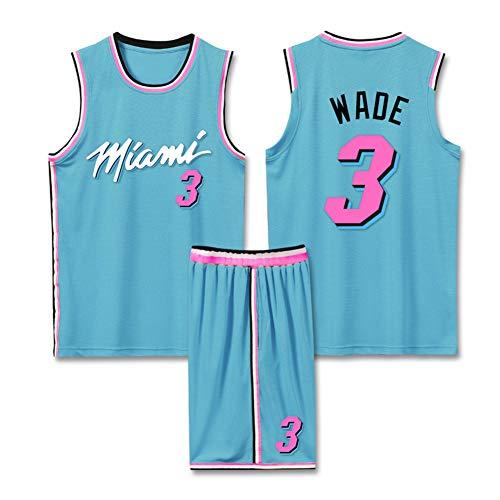 Z/A Dwyane Tyrone Wade # 3 Miami Heat Sommer Basketball-Star Aus Reiner Baumwolle Kurzarm Männer-T-Shirt Drucken Nach Oben,XL