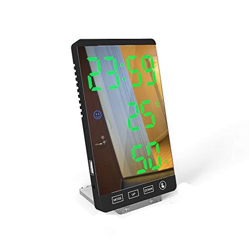 VHFGU 6 Pulgadas LED Espejo Alarma Reloj de Alarma Táctil Táctil Reloj Digital Tiempo Temperatura Humedad Muestra USB Salida Port Table Reloj (Color : C)