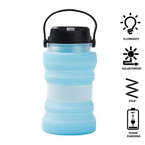 Auplew Bollitore Solare per Acqua, 730 ml Multifunzionale Solare Creativo Tazza da tè Pieghevole bollitore in Silicone per Esterno