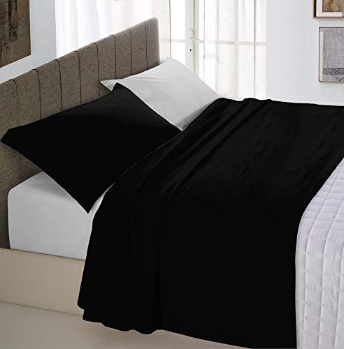 Italian Bed Linen Natural Color Completo Letto Doppia Faccia, 100% Cotone, (Nero/Grigio Chiaro), Matrimoniale, 4 Unità