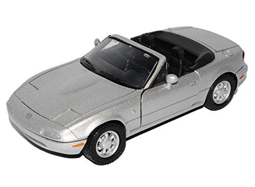 Motormax Mazda MX-5 Cabrio Silber 1. Generation NA 1989-1998 1/24 Modell Auto mit individiuellem Wunschkennzeichen