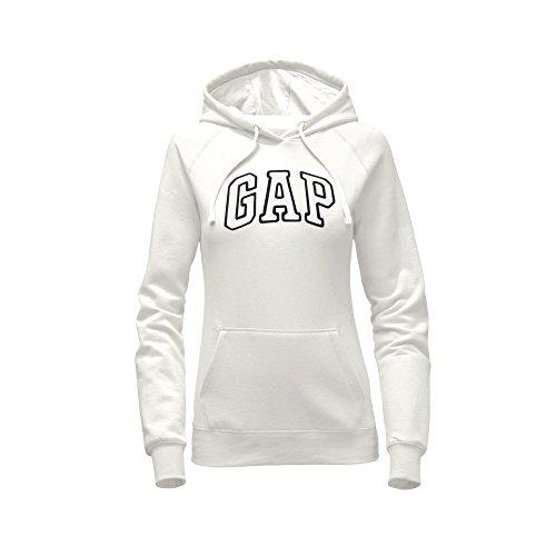 GAP Women's Pullover Fleece Logo Hoodie (Large, White)