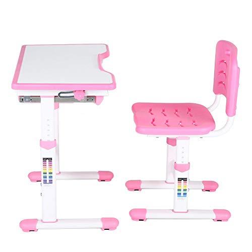 Schreibtisch für Kinder und Schüler,Einstellbare Kinder lernen Hausaufgaben Schreibtisch Kinder Aktivität Kunst Tisch Set, mit Stuhl und Schublade(Rosa)