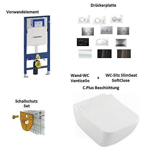 *Komplett-Set* - V&B Venticello - Wand-WC mit C.Plus + WC-Sitz - SoftClose + Geberit Duofix UP320 Element + Drückerplatte - Sigma 70 - Glass Umbra